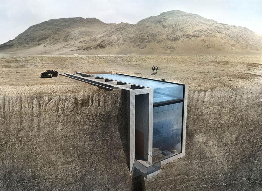 Спрятанный в скале дом с удивительно страшным видом на море