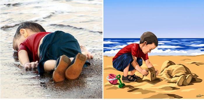 Айлан Курди - сирийский мальчик, который погиб, когда лодка, в которой он плыл с родителями, спасаясь от войны в Сирии, перевернулась.