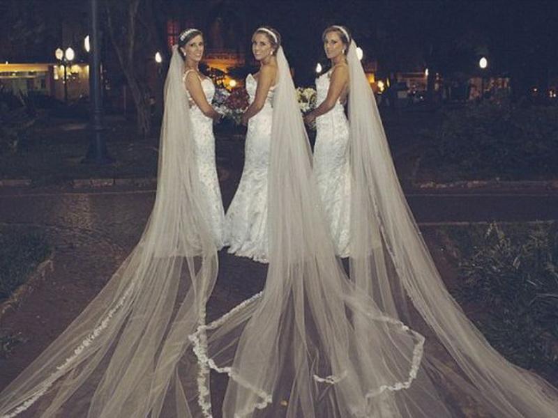 Свадьба сестер-тройняшек, которые решили выйти замуж одновременно