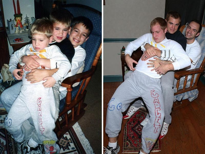 Необычный подарок маме: три брата воссоздали свои детские фото