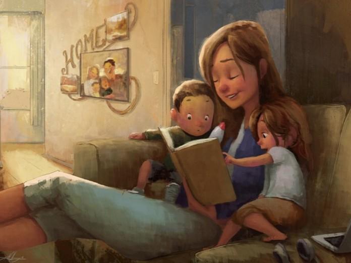 Рисунки мама с ребенком