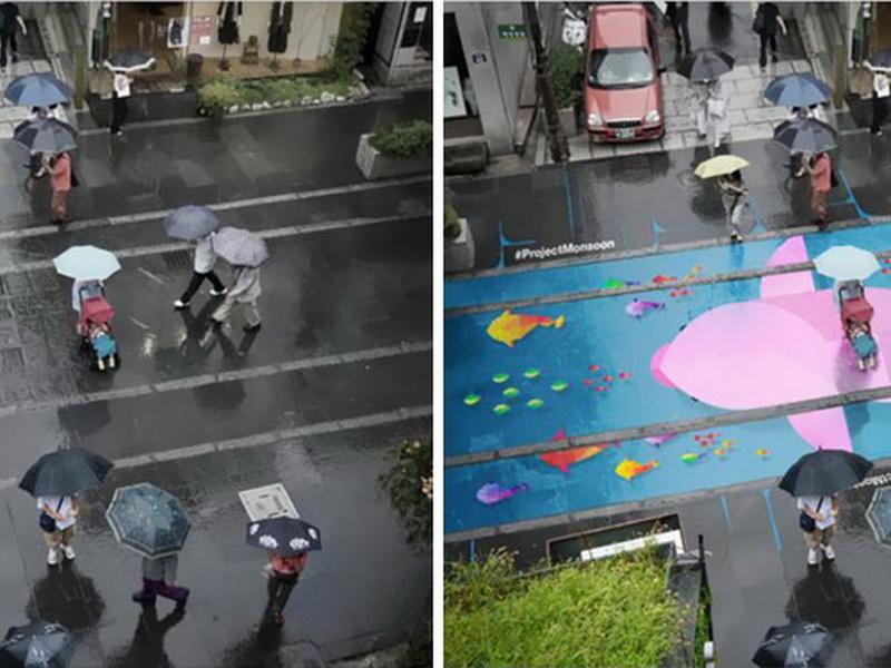 Эти яркие картины проявляются в Сеуле только тогда, когда идет дождь