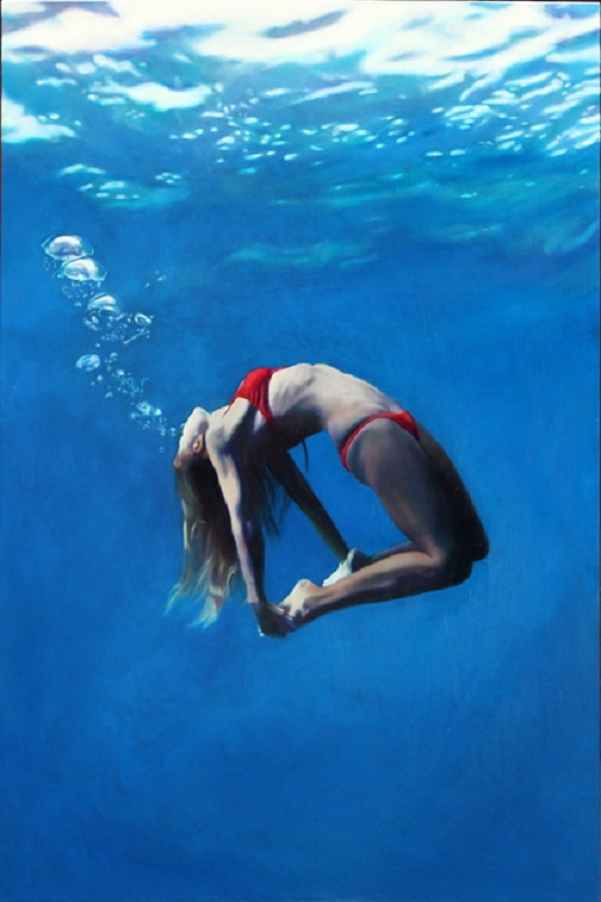 "Original Oil Painting by the artist Matt Story 28"" x 42"" - oil on panel. This is a figurative portrait of a blonde haired woman in a red two-piece grabbing her ankles behind her and facing up toward the surface, blowing bubbles trailing up toward the reflecting surface."