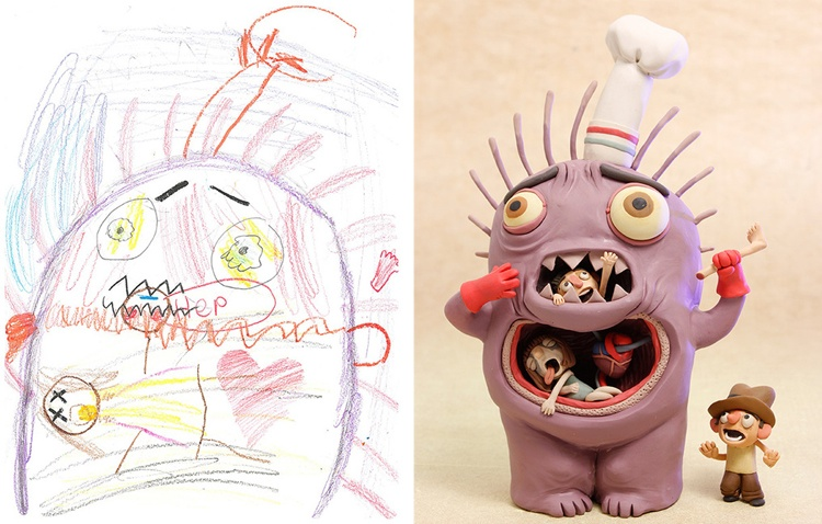 Профессиональные художники воссоздали монстров из детских каракулей. Это ужасно здорово!