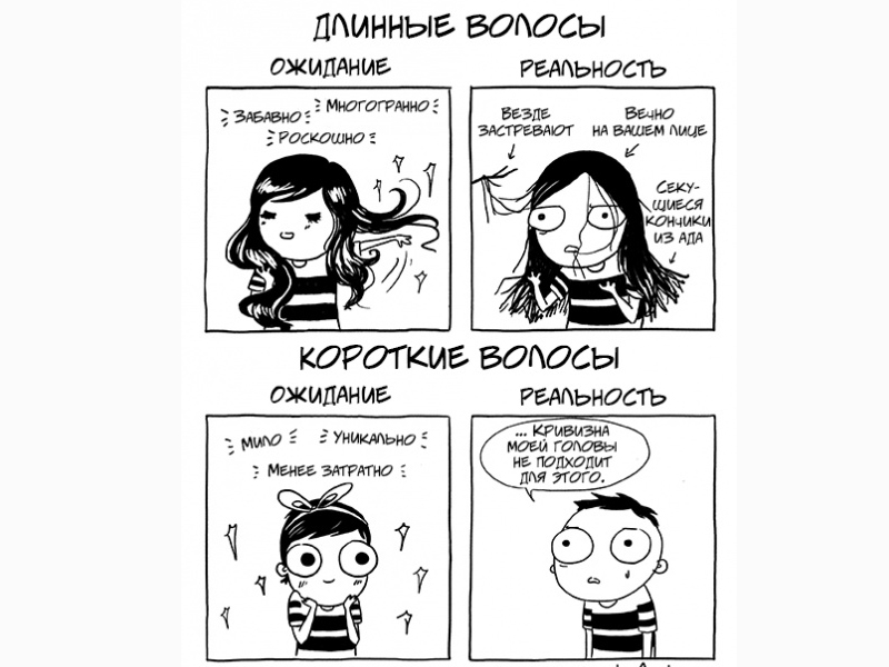 Иллюстрации, посвященные типичным женским проблемам и привычкам