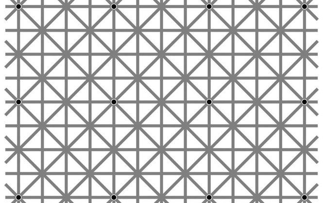 В сети набирает популярность оптическая иллюзия с 12 точками, которые невозможно увидеть одновременно