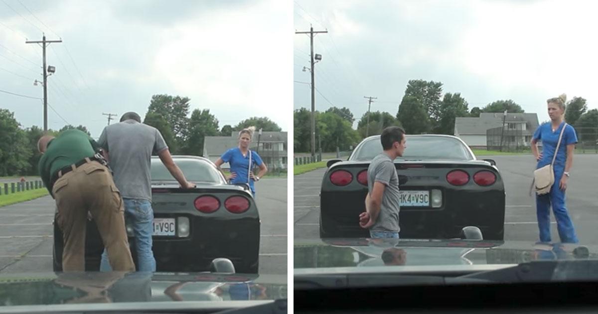 Полицейский останавливает эту пару и приказывает им выйти из машины. Затем офицер говорит парню встать на колени!