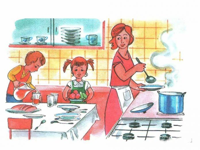 Мама на кухне в картинках для детей