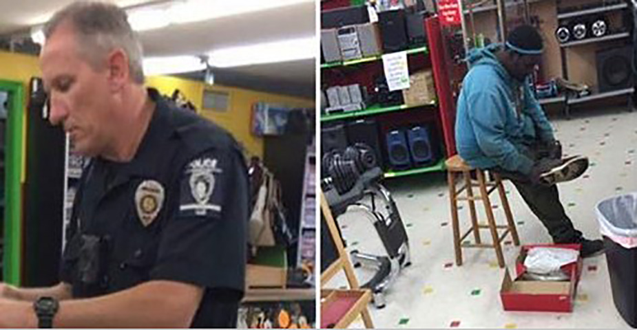 Кассир говорит человеку, что его карта отклонена. 15 минут спустя он вернулся с офицером, который делает 1 запрос!