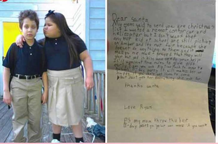 Маленький мальчик просил Санту о рождественских подарках, но потом понял, что над девочкой в его классе издеваются и ей необходимо помочь. Ответ маленького мальчика – золото!