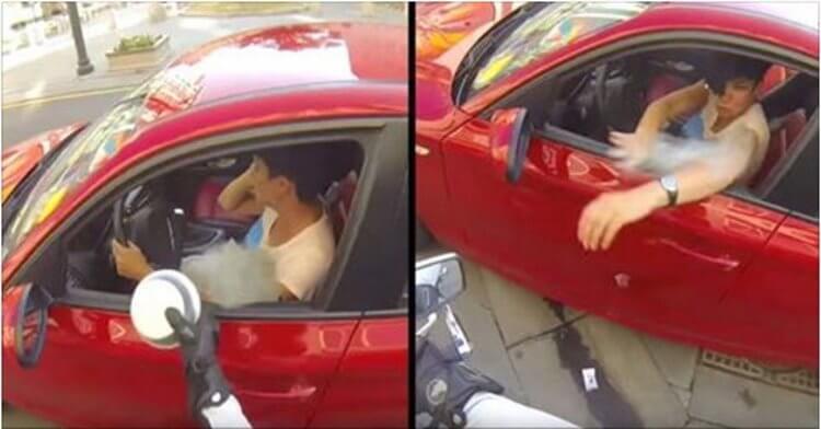 Девушка выбросила бутылку из окна машины. Судьба моментально преподала нахалке урок!