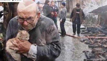 Все имущество этого 83-летнего дедули сгорело дотла. Но переживал он только о котенке…