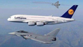 Airbus А380 пролетает со скоростью 800 км/ч на высоте 36 000 футов, когда внезапно появляется F-16