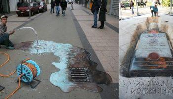 Народные умельцы: Объемные 3D рисунки на тротуарах