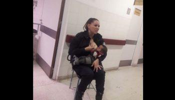 Женщина-полицейский кормит брошенного малыша, потому что врачи слишком заняты своими делами