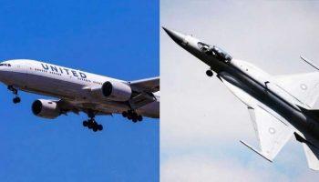 Boeing 777 летит со скоростью 800 км/ч, когда внезапно к нему приближается F-17