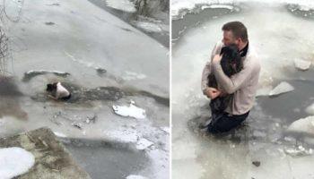 Парень не задумываясь прыгнул в ледяную воду ради спасения утопающего пса