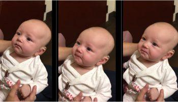 Малыш первый раз услышал мамин голос