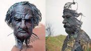 Потрясающие трехмерные портреты из проволоки, которые создает румынский художник