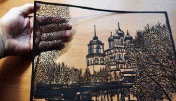 Псковский пенсионер вырезает из бумаги потрясающие картины, которые поражают своей утончённостью…
