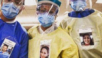 В СШАсвои улыбающиеся фото, медики наклеивают на защитные костюмы