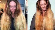 Стилист обрезал волосы девушки почти в ноль и превратил в яркую красотку.