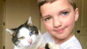 Мальчик с разным цветом глаз нашел друга с такой же необычной особенностью
