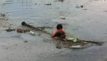 Двухмесячный щенок утонул бы в грязевом озере, если бы не помощь парня…