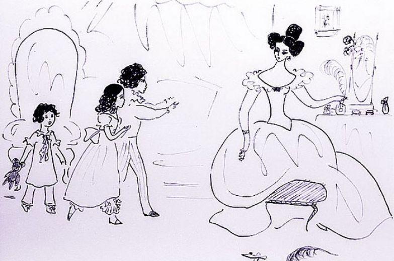 Рисунок Нади Рушевой «Н. Н. Пушкина с детьми». Из цикла «Пушкиниана». Перо. 1966 год.