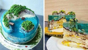 Во время карантина повара скучают по тропическим островам и создают кондитерские шедевры в виде тортиков