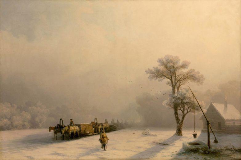 Зимний обоз в пути. И. Айвазовский, 1857 год. | Фото: history-of-art.livejournal.com.