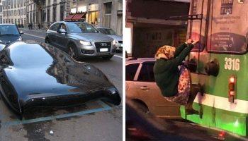 20 невероятных фото, невероятных дорожных ситуаций, подсмотренных из окон собственных автомобилей