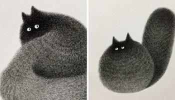 При помощи шариковой ручки, художник рисует обаятельных котиков