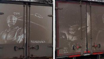 20 шедевров от художника, который рисует на грязных грузовиках